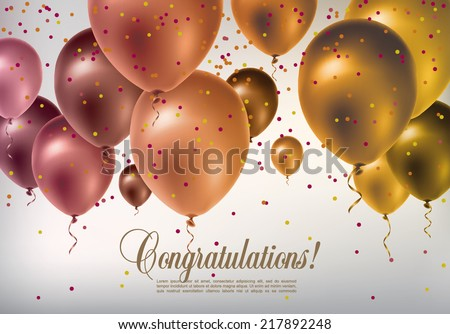 Background with multicolored flying balloons and confetti - stock vector