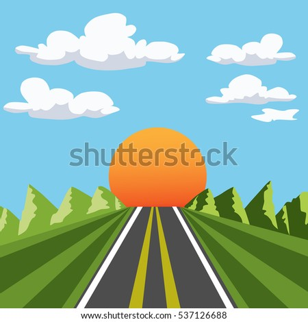 background with nature: the sun, mountains, road, grass