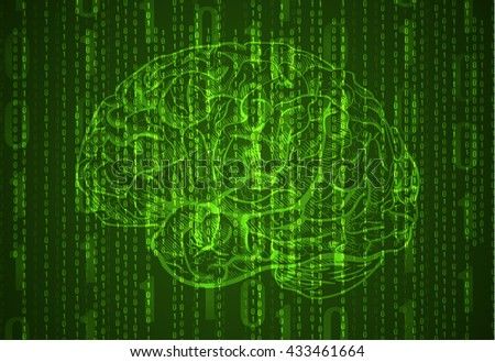 Background with numbers and brain sketch. Abstract green background. VECTOR.  - stock vector