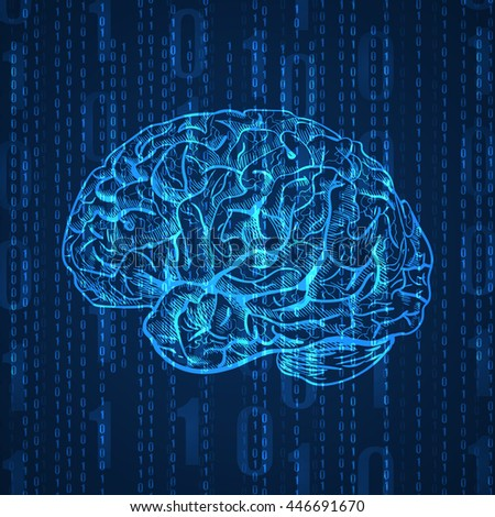 Background with numbers and side view brain sketch, abstract blue VECTOR.  - stock vector