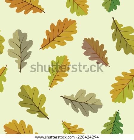 Background with oak leaves - stock vector