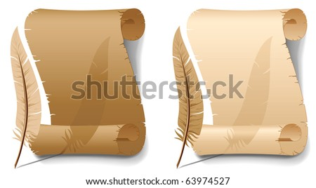 Background with old paper and feather, illustration - stock vector
