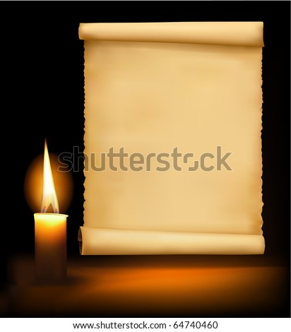 Background with old paper, candle and a candle. Vector illustration. - stock vector