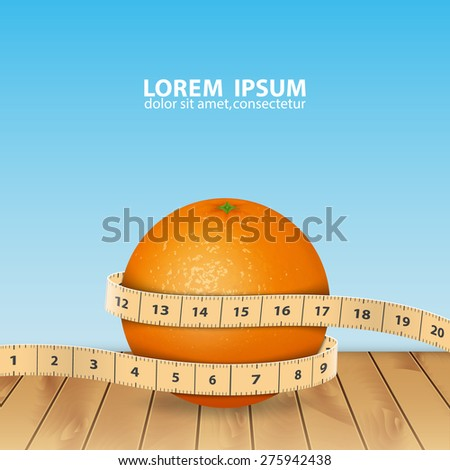 Background with orange and tape measure. High quality vector. EPS10 vector - stock vector