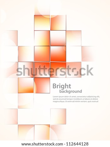 Background with orange squares - stock vector