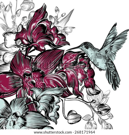 Background with orchids and hummingbird - stock vector