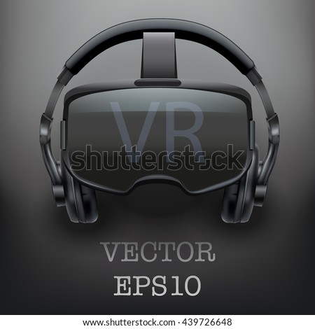 Background with Original stereoscopic 3d vr headset and headphones. Front view. Vector illustration.