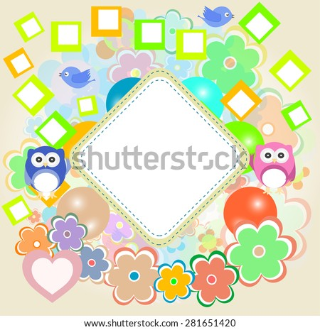 Background with owl, flowers and birds vector - stock vector