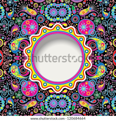 background with paisley - stock vector