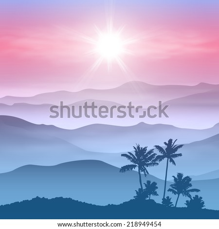 Background with palm tree and mountains in the fog. EPS10 vector. - stock vector