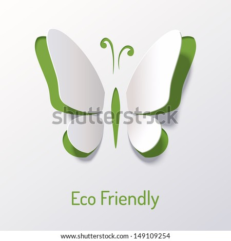 Background with paper butterfly. Eco friendly. Abstract design. Origami. - stock vector