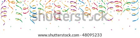 Background with party streamers and confetti, illustration - stock vector