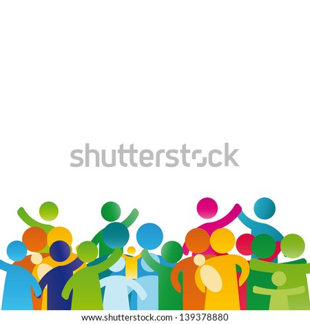 Background with pictogram showing figures happy family - stock vector