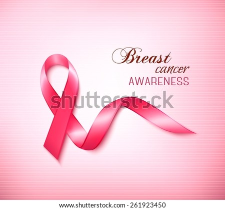 Background with Pink Breast Cancer Ribbon. Vector - stock vector