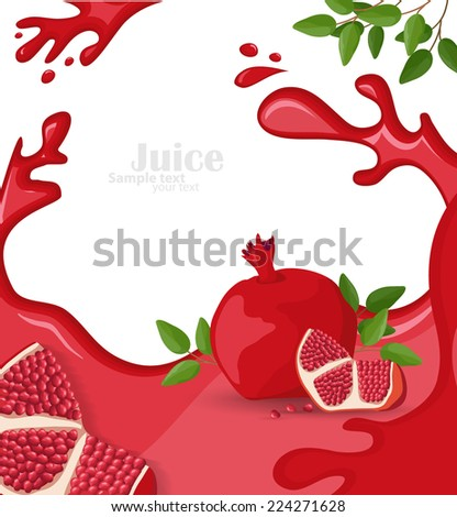 background with pomegranate juice and slices - stock vector