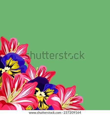 Background with purple, yellow pansies and pink amaryllis - stock vector