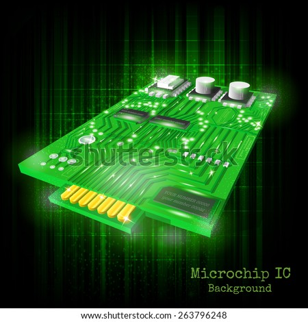 background with realistic microchip on black green shining - stock vector