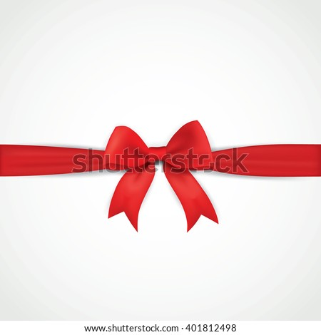 Background with realistic red bow and ribbon - stock vector