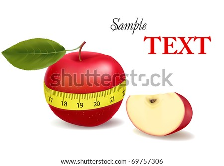 Background with red apple measured the meter, sports apple (with sample text). Vector illustration - stock vector