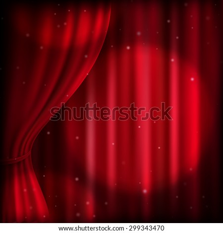 Background with red curtain and spot light. EPS 10 vector file included - stock vector