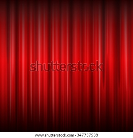 Background with red curtain , vector illustration.