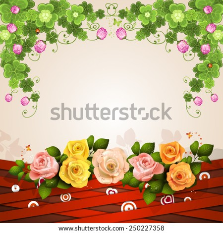 Background with red strips and roses - stock vector