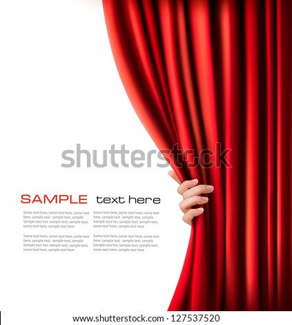 Background with red velvet curtain. Vector illustration. - stock vector