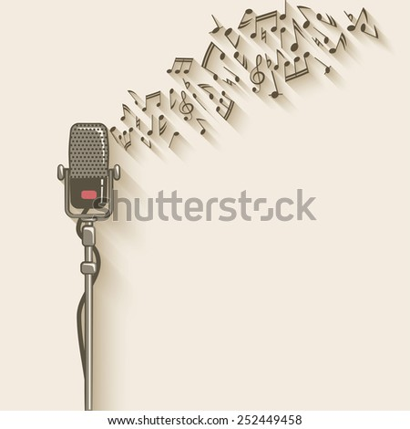 background with retro microphone - vector illustration. eps 10 - stock vector