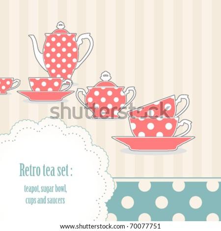 Background with retro polka dot tea set - stock vector