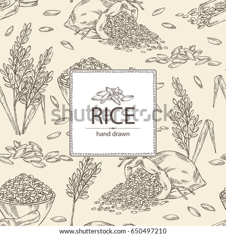 Background with rice, plate with rice and bag of rice. Vector hand drawn illustration