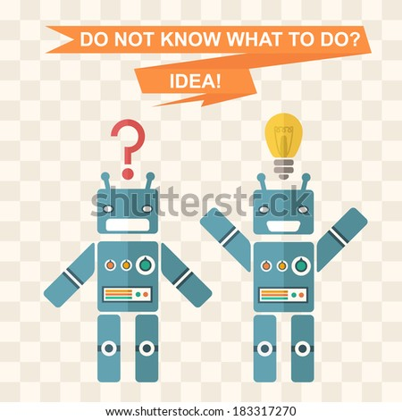 background with robots, characterizes finding ideas, sudden thought, inspiration - stock vector
