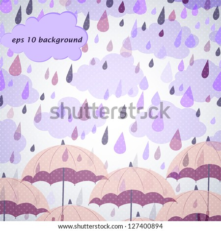 background with rose umbrella and mauve rain - stock vector