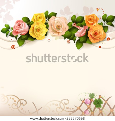 Background with roses - stock vector