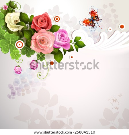 Background with roses and butterflies - stock vector
