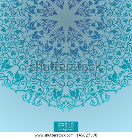 Background with round medieval ornament - stock vector