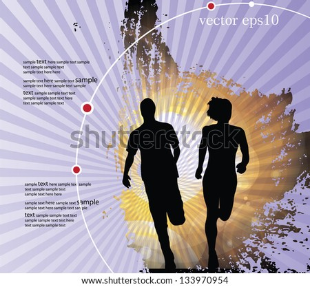 Background with runners. Vector illustration - stock vector