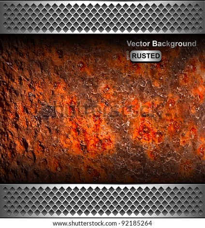 Background with rusted metal texture, vector. - stock vector