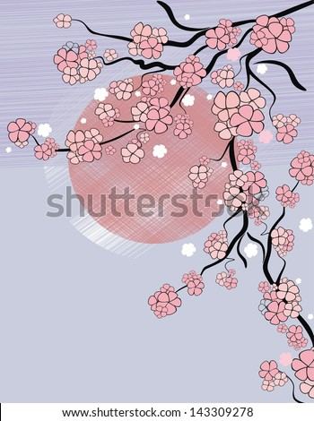background with sakura blossom  in asian style