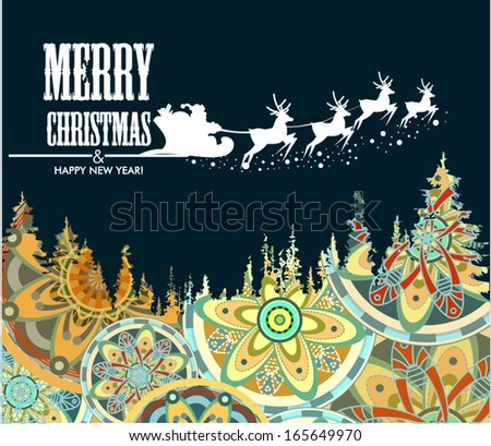 Background with Santa Claus sleigh, Christmas tree and stars.Christmas tree ornament of winter - stock vector