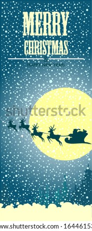 Background with Santa�s sleigh, Christmas tree and stars - stock vector