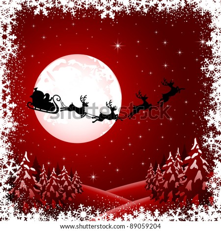 Background with Santa's sleigh, Christmas tree and stars, illustration - stock vector