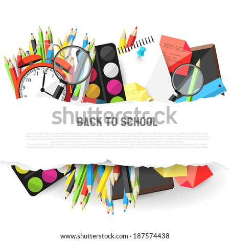 Background with school supplies and place for text - flat design style