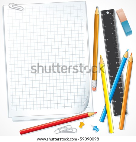 Background with school supplies, items, all vector objects separated - stock vector