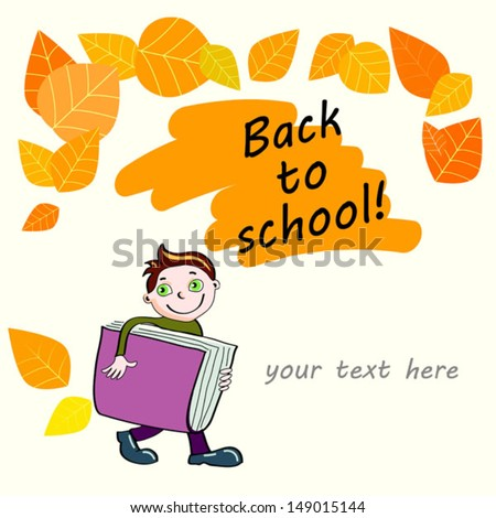 background with schoolboy - stock vector