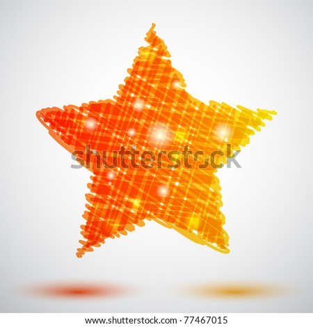 Background with scribble star - stock vector