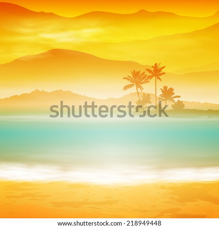 Background with sea and palm trees. Sunset time. EPS10 vector. - stock vector