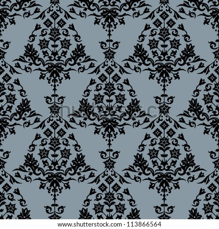 Background with seamless damask pattern in classic style. Vector illustration