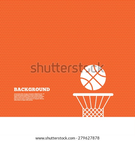Background with seamless pattern. Basketball basket and ball sign icon. Sport symbol. Triangles orange texture. Vector - stock vector