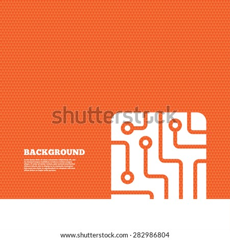 Background with seamless pattern. Circuit board sign icon. Technology scheme square symbol. Triangles orange texture. Vector - stock vector