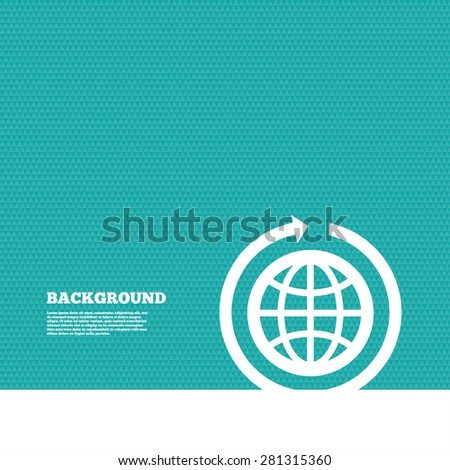Background with seamless pattern. Globe sign icon. Round the world arrow symbol. Full rotation. Triangles green texture. Vector - stock vector